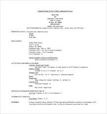 Academic Resume Example Sample Academic Resume For College Application Cover Letter Resume