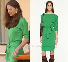 kate wears green dvf maja dress to reception in los angeles