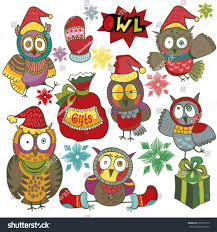 cute colorful set christmas owls characters stock vector 320317913