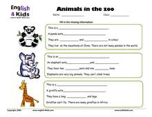 esl kids worksheets zoo animals worksheets