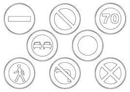 Imprimer des coloriages de panneaux de signalisation de danger sur