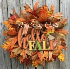 hello fall wreath fall leaves wreath fall wreath fall burlap