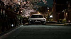 audi r8 headlights audi r8 automobiles cars cherry blossoms headlights night time
