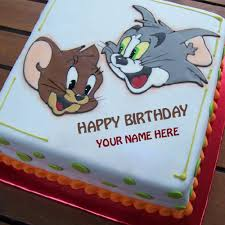 write smiley tom jerry birthday cake