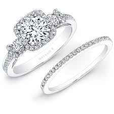 bridal sets rings 14k white gold square halo white diamond bridal set