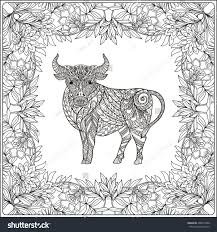 cow floral frame coloring book stock vector 406697308