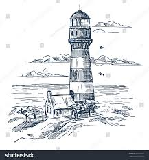 sketch lighthouse near worker house building stock vector