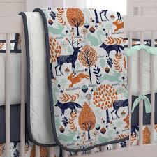 Orange Crib Bedding Sets Navy And Orange Woodland 3 Crib Bedding Set Carousel Designs
