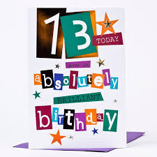 13th birthday card brilliant birthday only 99p