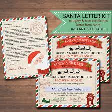 editable nice naughty certificates santa letter christmas