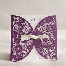 Purple Wedding Invitations Affordable Chic Purple Laser Cut Invitations Ewws055 As Low As 1 99