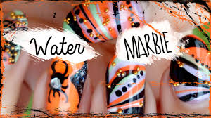 Diy Easy Halloween Drag Marble Nails Design Cute Dry Nail Art by Water Marble Halloween Nail Art Tutorial Youtube