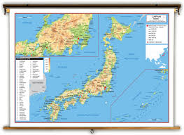 Physical Map Of East Asia by Japan Physical Educational Wall Map From Academia Maps