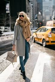 nyfw fall winter 2017 street style grey coat tan blanket scarf