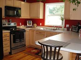 kitchen red kitchen wall with oak kitchen cabinet and also white