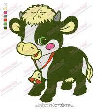 cute cartoon cow embroidery design