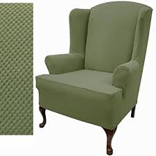 Outdoor Wingback Chair Amazon Com Stretch Pique Wingback Chair Slipcover Color Balsam