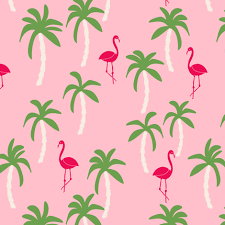 palm tree fabric flamingo summer tropical print pink and