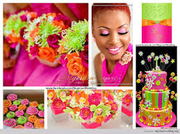 wedding colors orange fuchsia pink lime green nigerian diy