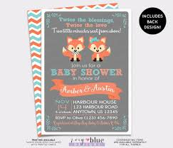 twin fox baby shower invitation foxes woodland or boy
