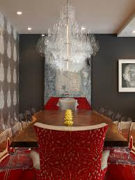 hgtv red dining room crystal chandelier red interiors