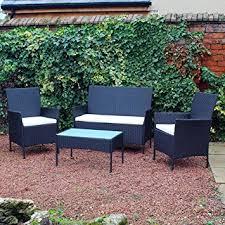 kingfisher fsr 4 piece black rattan effect garden patio furniture