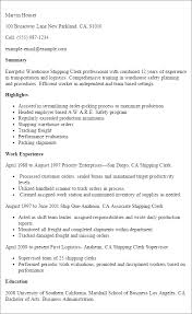 Examples Of Clerical Resumes by Professional Warehouse Shipping Clerk Resume Example Templates To