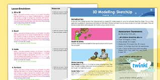 computing 3d modelling sketchup 2d to 3d year 5 lesson pack 1