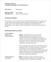 Hospital Housekeeping Resume Sample by Housekeeper Job Description Example 14 Free Word Pdf Documents