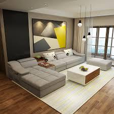 Living Room L Shaped Sofa Living Room Furniture Modern L Shaped Fabric Sectional Sofa Set