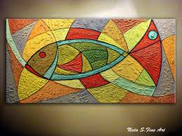 Fish Home Decor Accents Original Art Abstract Fish Painting Heavy Textured Large Painting