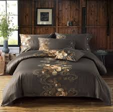 zange bedding brown luxury 100 egyptian cotton bedding sets satin embroidered include 1 duvet cover 1 flat sheet 2 pillowcases 4pcs king size k qc