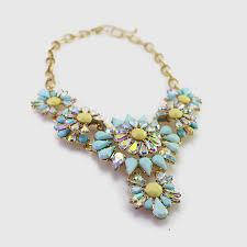 blue bib necklace images Princess aurora aqua borealis stone flower statement bib necklace jpg