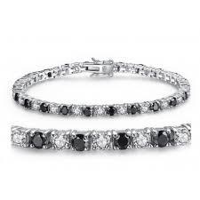bracelet tennis zirconia images Sterling silver round shape black white cubic zirconia tennis jpg