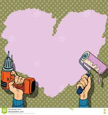 love heart background paint wall repair stock vector image 71036340