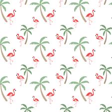 flamingo palm trees hawaii print tropical bird tree fabric
