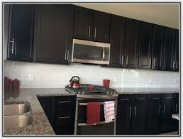 Subway Tile Kitchen Backsplash With Dark Cabinets Tiles  Home - Kitchen backsplash with dark cabinets