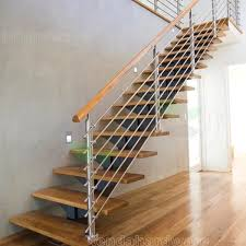 u shape steel folding stairs with laminated glass steps and double