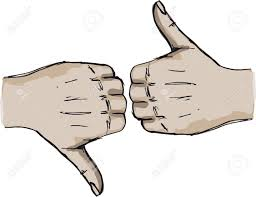 sketch of thumb up and thumb down hand signs vector illustration