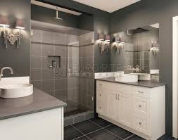 White Bathroom Cabinets by Minimalist Decorating Ideas Using Grey Wall And Rectangular Brown