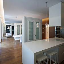 White Kitchen Laminate Flooring Green Painted Island With Wooden Top Beige L Shaped Cabinet