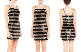 party central dress gold black striped sequin bodycon dress