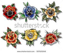 traditional tattoo roses set tattooing drawing stock vector