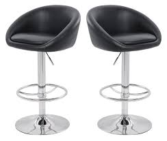 modern kitchen swivel bar stools with black leather padded seat