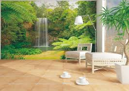 204 best relaxing wall murals images on pinterest wall murals tropical living room with travertine tile floors idealdecor waterfall in spring wall mural angelica gold travertine tile