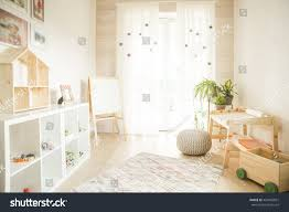 kindergarten room easel chair table painting stock photo 454942831