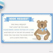 bring a book instead of a card wording teddy book request card printable from muse printable