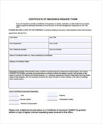 certificate of insurance request form template awic2007 net