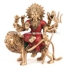 lion statue home decor durga statue brass goddess maa hindu religious sitting on tiger