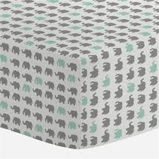Green Elephant Crib Bedding Gray And Mint Elephant Parade Crib Sheet Carousel Designs